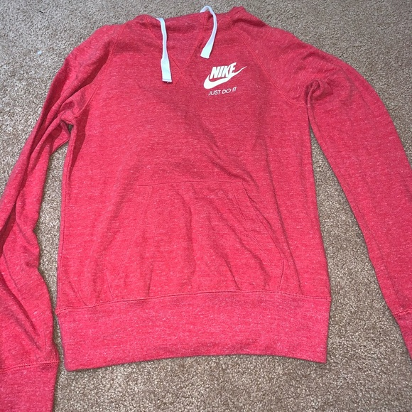 Nike Tops - Nike light weight red pullover with hood